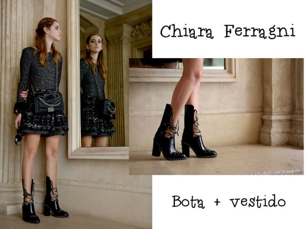 Chiara Ferragni usando bota chanel de corrente