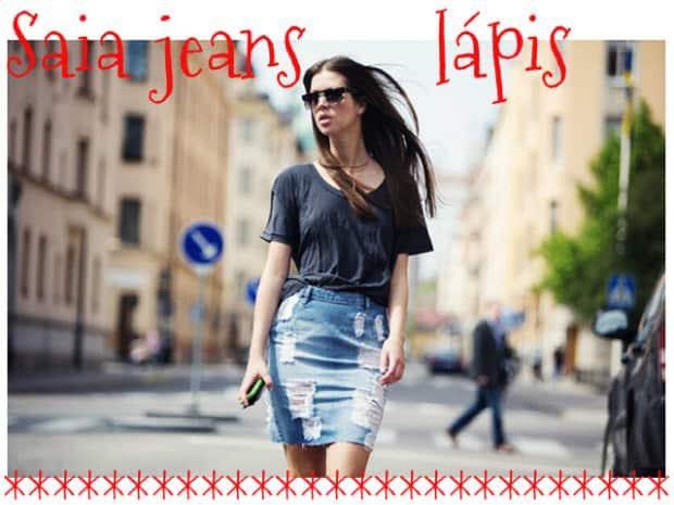 Saia jeans lápis f609317614d16